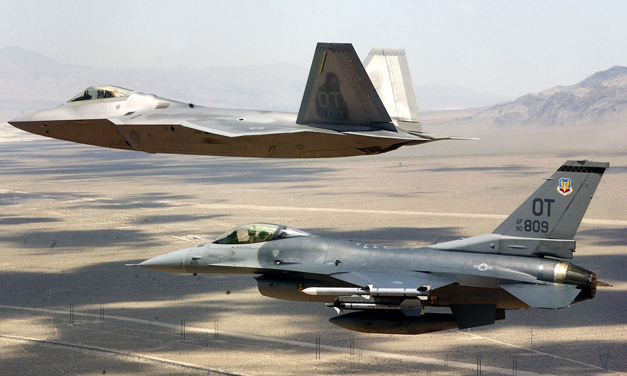 F-35 and F-16 two-ship formation