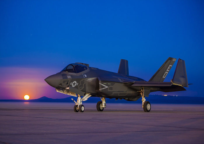 F-35 on runway at Twilight