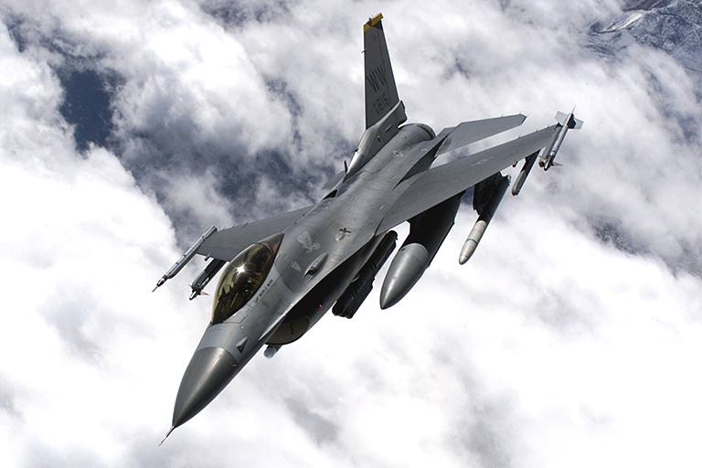 F-16 in flight over Japan